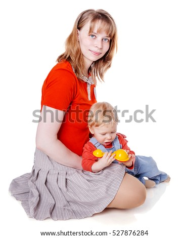 Mother with son sitting posing isolated on white