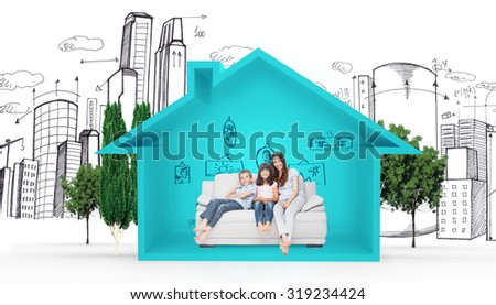 Mother with their children sitting on sofa against house shape with living room sketch - stock photo