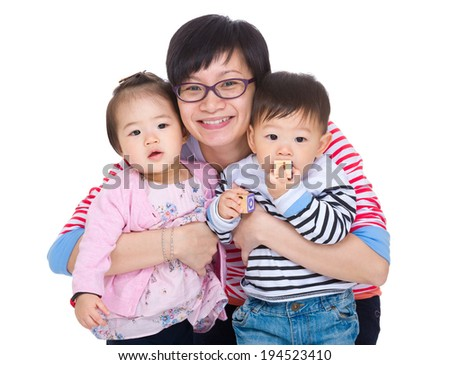 Mother with twins - stock photo