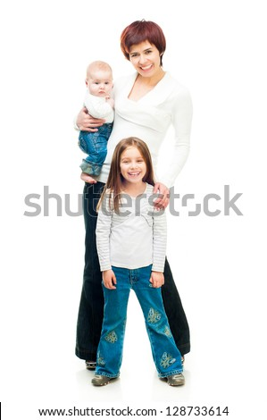 Mother with two babies isolated on a white background - stock photo