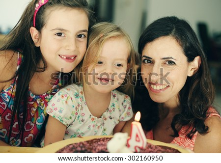mother with two daughters - stock photo