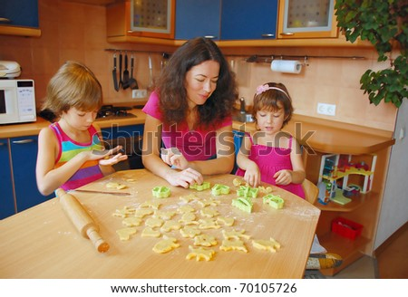 Mother with two kids baking together