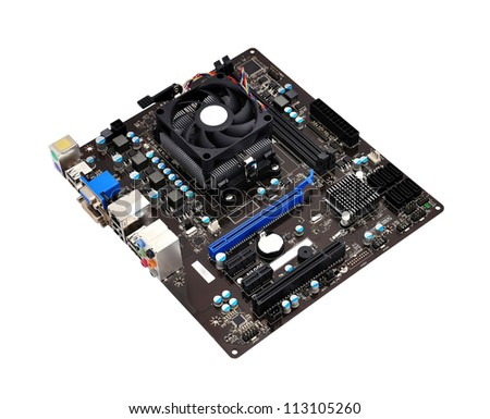 motherboard close up on white background - stock photo
