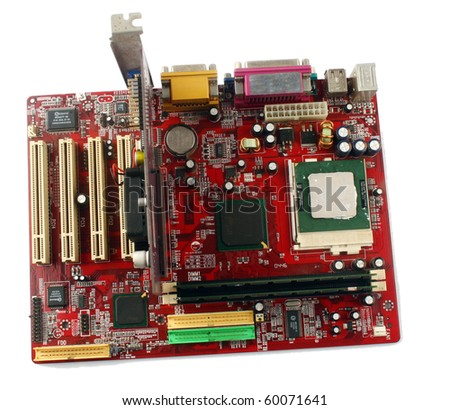 Motherboard computer isolated on a white background