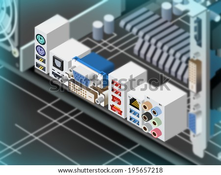 Motherboard Ports - stock photo