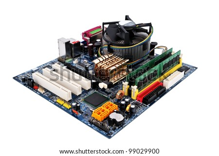 motherboard socket 775   on a white background - stock photo