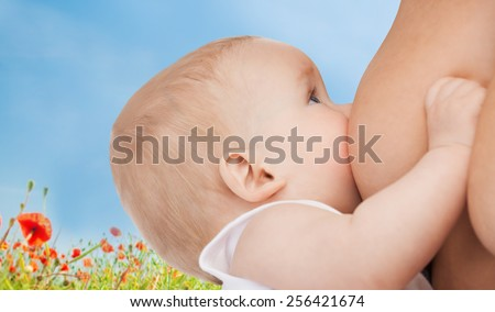 motherhood, children, people and care concept - close up of mother breast feeding adorable baby over blue sky and poppy field background - stock photo