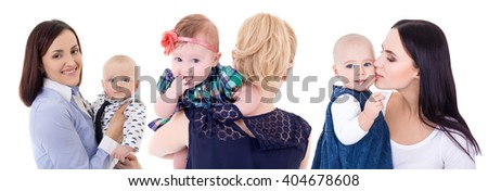 motherhood concept - portraits of young happy mothers with their babies isolated on white background - stock photo