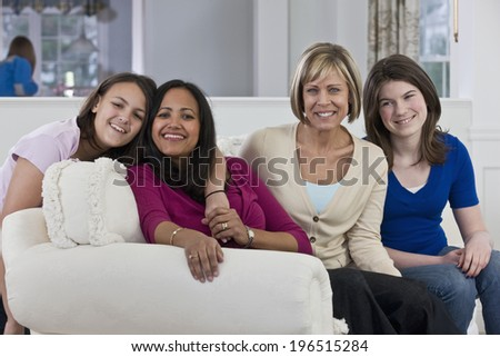 Mothers and their teenage daughters - stock photo