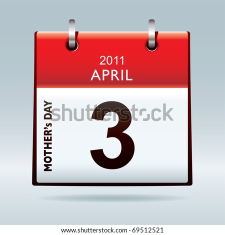Mothers day 2011 calendar icon with red top - stock photo