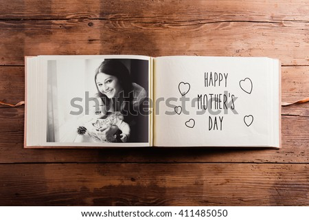 Mothers day composition. Photo album, black-and-white picture. W - stock photo