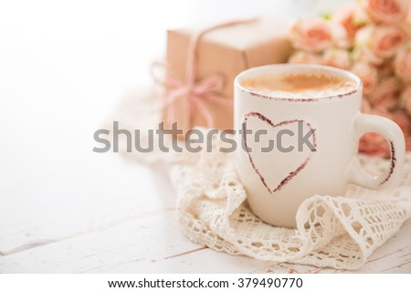 Mothers day concept - coffee present and roses copy space - stock photo