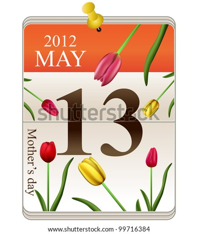 Mothers day for 2012 on calendar with tulips - stock photo