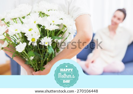 mothers day greeting against daughter giving mother white bouquet - stock photo