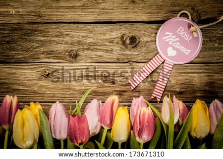 Mothers Day, or Baby Shower, greeting with a border of fresh colourful tulips arranged in a line on a texture of rustic wooden planks with copyspace - stock photo