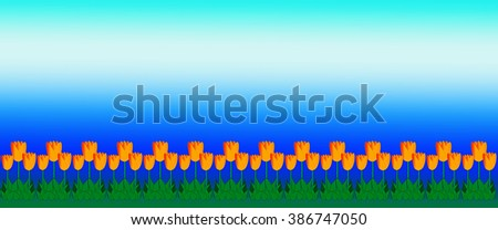 Mothers Day Summer or spring background illustration of yellow tulips on border with bright blue sky - stock photo