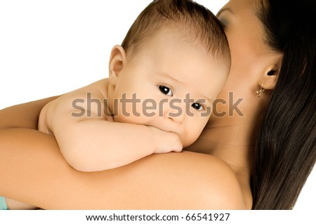 mothger embrace beautiful  very little kid,  on white background, isolated - stock photo