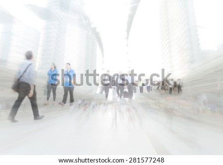 motion blur business people traveling to work - stock photo