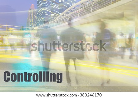 motion blur business people with skyscraper, controlling, business management concept