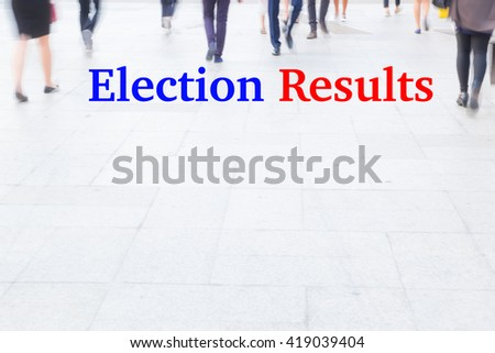 motion blur crowd walking, election results, election concept - stock photo