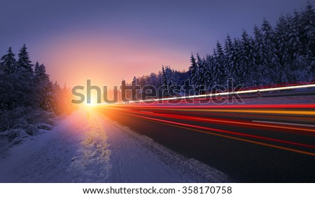 Motion Blur of Car Driving  - stock photo