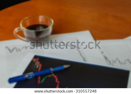 Motion blur of graph analysis work concept - stock photo