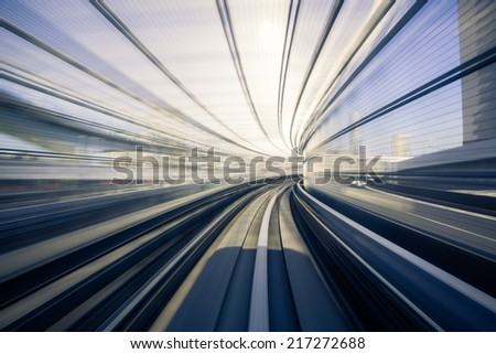Motion blur of Japanese mono rail - stock photo