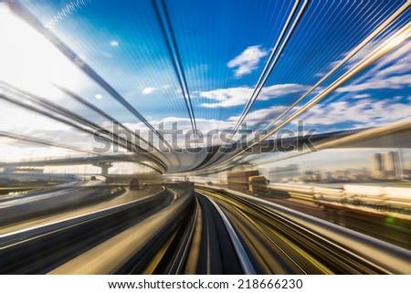 Motion blur of Japanese mono rail - stock photo