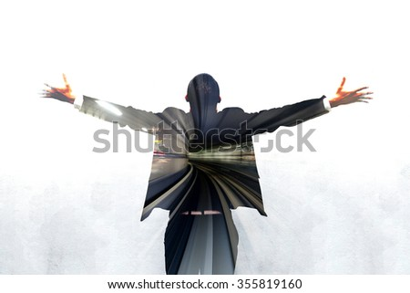 Motion blur of Subway tunnel inside business man is spreading hands  - stock photo