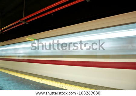 motion blur outdoor of high speed train in subway, Rome - stock photo