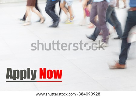 motion blur people walking, apply now, human resource concept