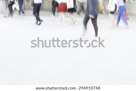 motion blur people walking, space provide for text