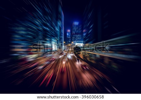 Motion Blurred background of Hong Kong City night scenes
