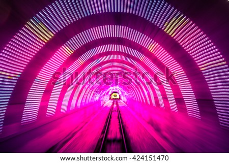 Motion blurred image of Wellington Cable Car Traveling with vintage color tone - stock photo