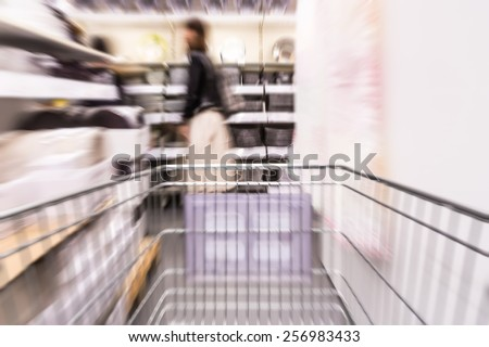 Motion blurred shopping background