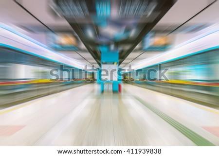 Motion Blurred,subway station - stock photo
