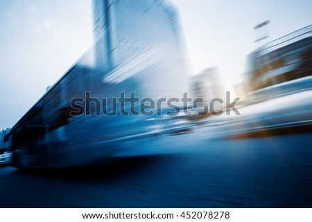motion blurred urban traffic