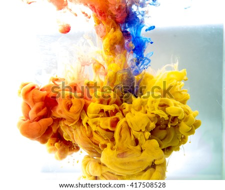 motion Color drop in water,Ink swirling in water,Colorful ink in water abstraction