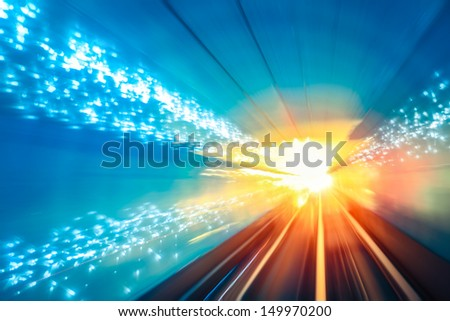 motion fast in the underground tunnel - stock photo