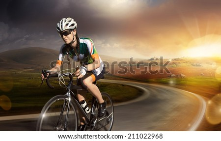 Motion road cyclist. Crop.  - stock photo
