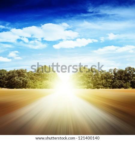 Motion road. Non-urban summer landscape - stock photo