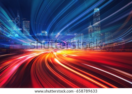 Motion speed effect with City Night Illustration