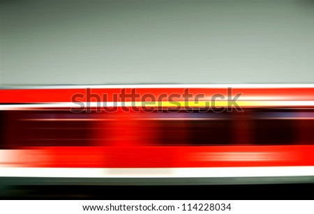 Motion stripes of a passing red train. German railroad/Rush Hour - stock photo