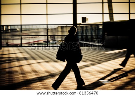 motion traveler of shanghai airport. - stock photo