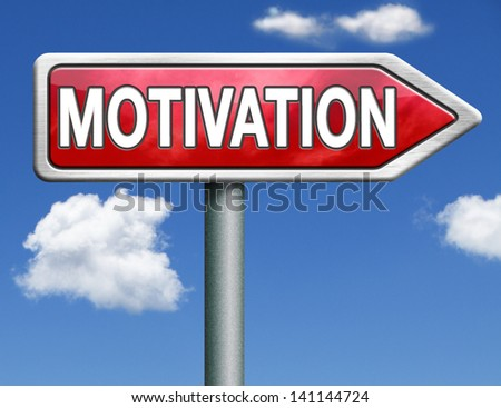 motivation and inspiration get inspired or inspire others give an energy boost optimistic red road sign arrow with text and word - stock photo