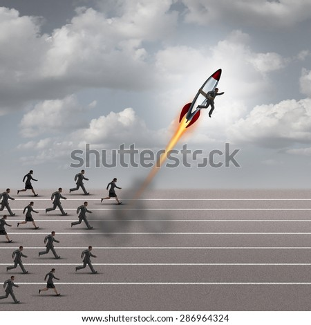 Motivation concept and career boost as a group of business people running on a track with a businessman on a rocket ship breaking away from the competition as a success metaphor for a game changer. - stock photo