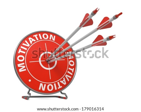 Motivation Concept. Three Arrows Hit in Red Target. - stock photo
