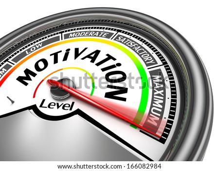 motivation conceptual meter indicate maximum, isolated on white background - stock photo