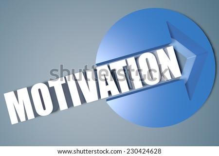 Motivation - 3d text render illustration concept with a arrow in a circle on blue-grey background - stock photo