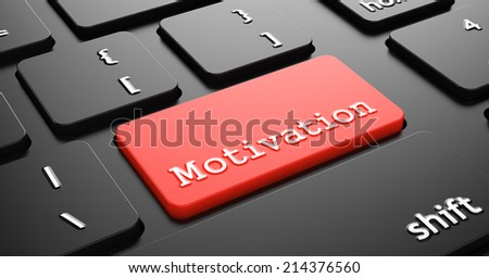 Motivation on Red Button Enter on Black Computer Keyboard. - stock photo